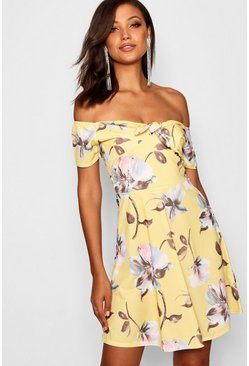 Womens Yellow Tall Floral Print Skater Dress
