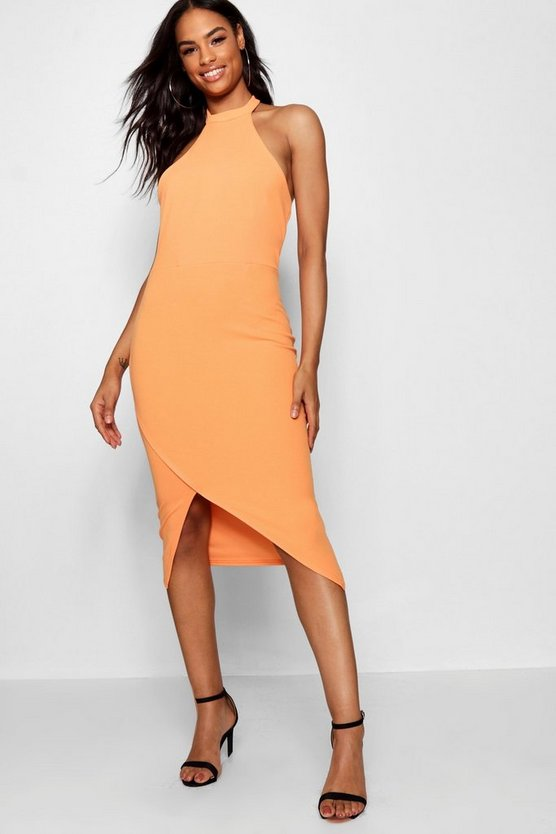 Womens Orange Tall Racer Neck Bodycon Midi Dress