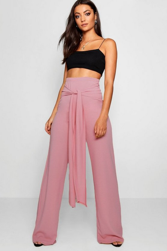 Tall Tie Front Wide Leg Trousers