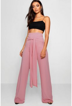 Womens Rose Tall Tie Front Wide Leg Pants