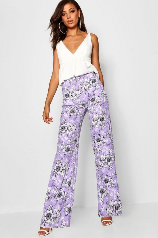 Tall Floral Print Wide Leg Trousers