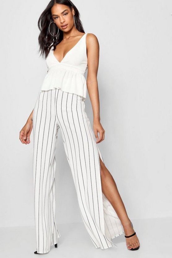Tall Split Leg Pinstripe Trousers