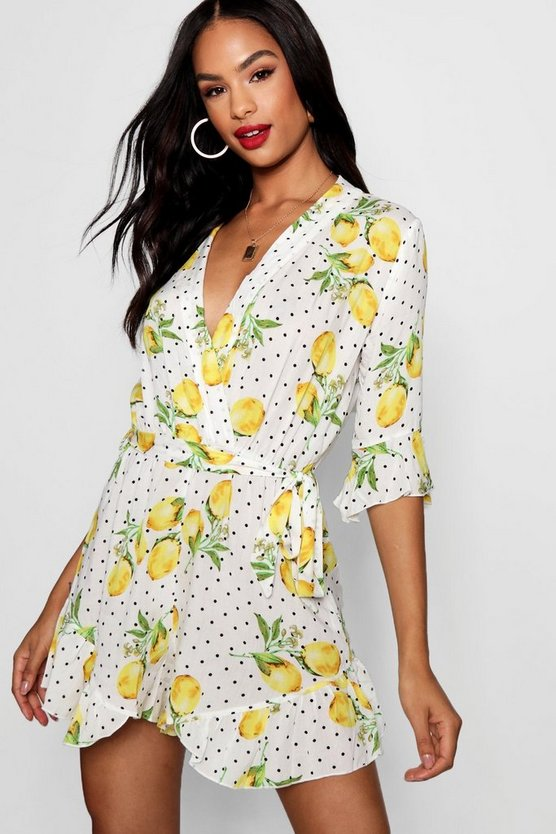 Tall Lemon Polka Dot Wrap Playsuit
