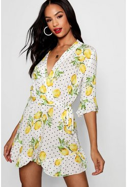 Womens White Tall Lemon Polka Dot Wrap Playsuit