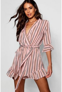 Womens Pink Tall Stripe Wrap Playsuit