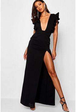 Womens Black Tall Ruffle Plunge Split Leg Maxi Dress
