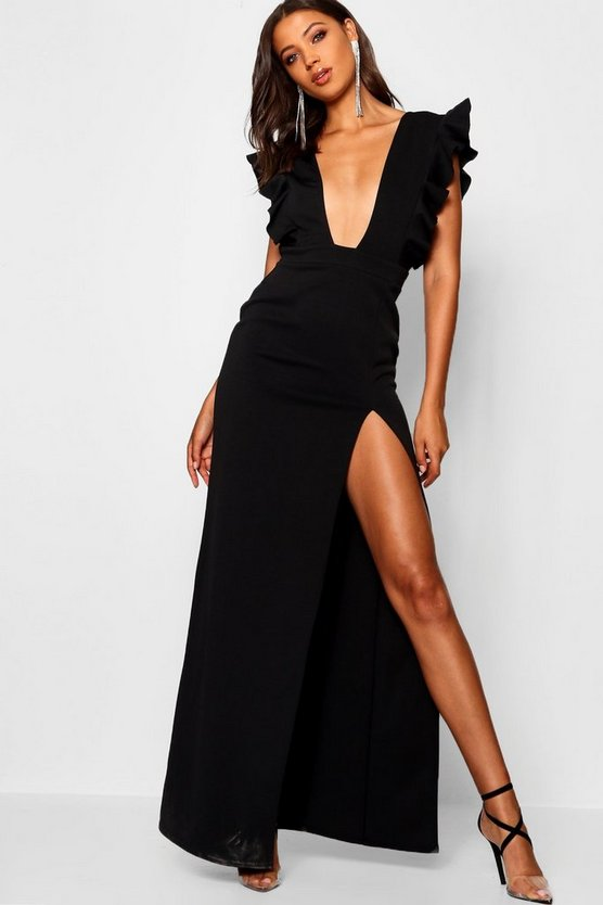 Tall Ruffle Plunge Split Leg Maxi Dress