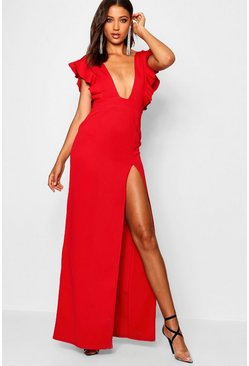 Womens Red Tall Ruffle Plunge Split Leg Maxi Dress