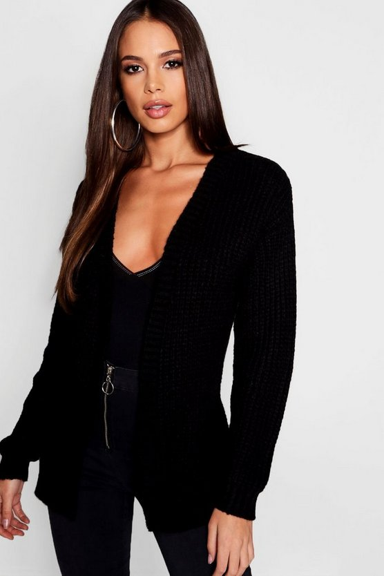 Womens Black Tall Soft Knit Edge To Edge Cardigan