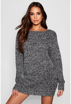 Black Tall Marl Knit Jumper Dress