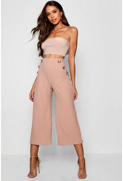 Womens Rose Tall Horn Button Detail Crepe Culottes