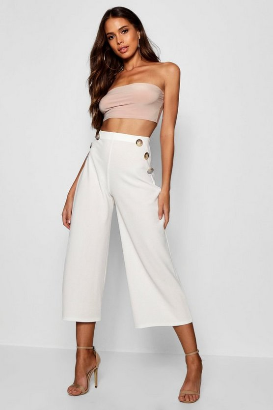 Tall Horn Button Detail Crepe Culottes