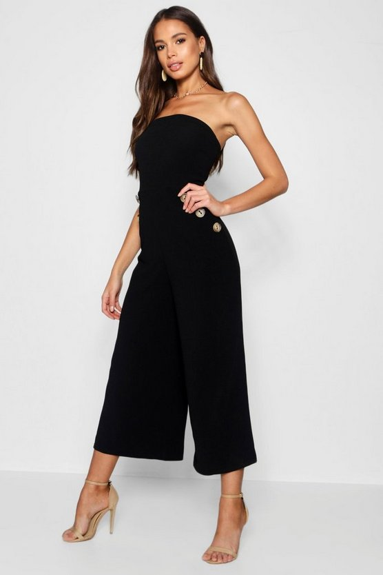 Tall Faith Horn Button Detail Bandeau Jumpsuit