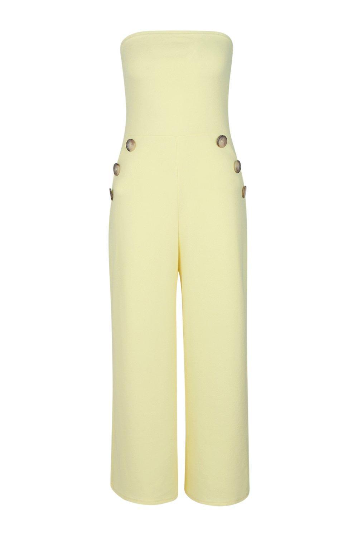 Jumpsuit Faith Detail Horn Tall yellow Button Bandeau XqFFAZ