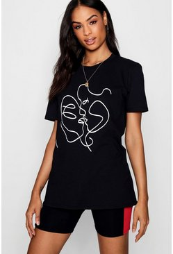 "Tall T-Shirt mit ""Sketch Face""-Print, Schwarz"