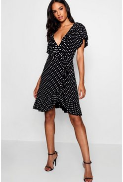 Womens Black Tall Hannah Polka Dot Wrap Dress
