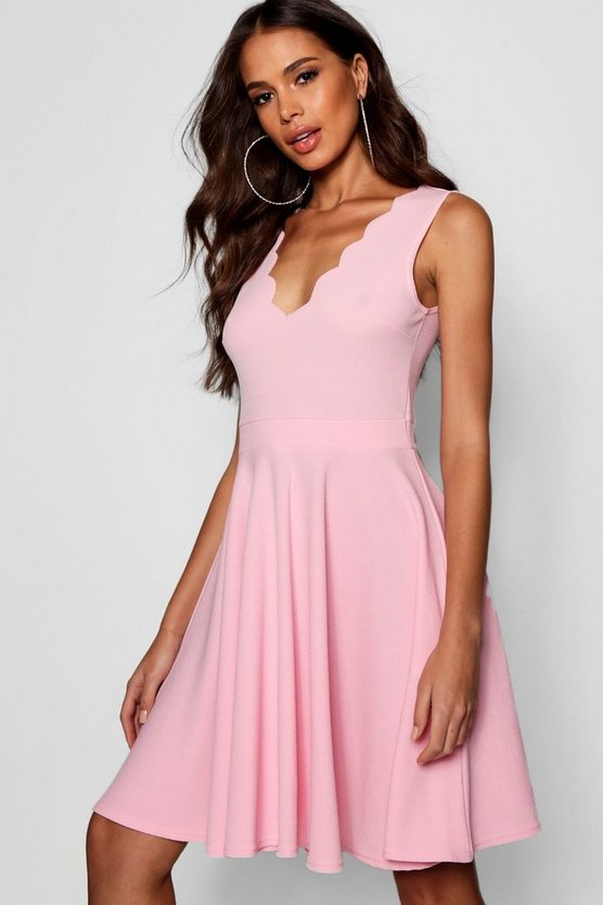 Tall Maisy Scallop Hem Skater Dress
