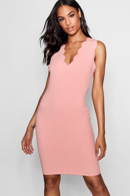 Tall Keira Scallop Edge Bodycon Dress