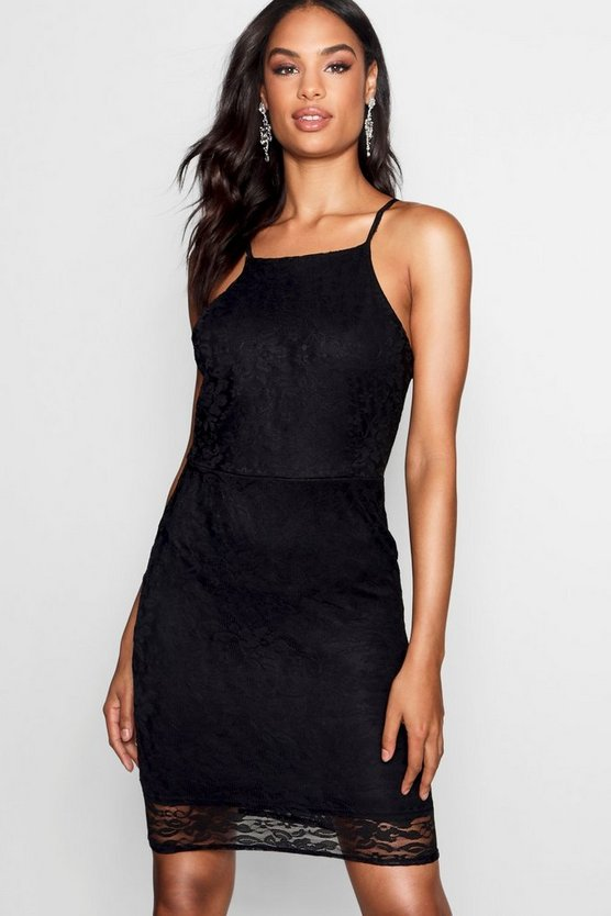 Womens Black Tall Elisha Square Neck Lace Bodycon Dress