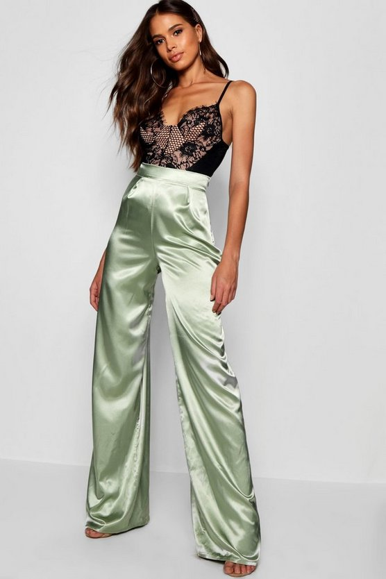 Tall Isabel Satin Wide Leg Trousers