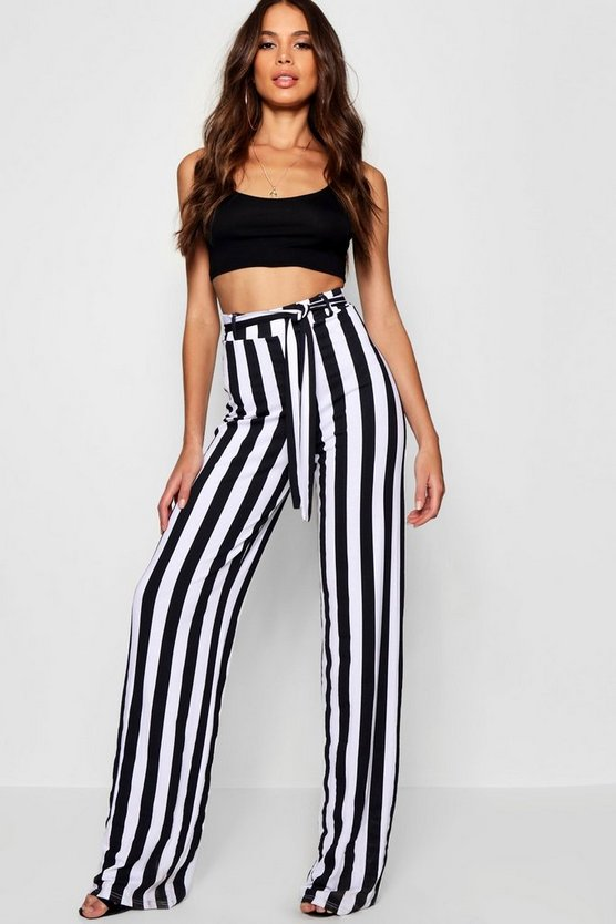 Womens Black Tall Mia Stripe Wide Leg Trousers