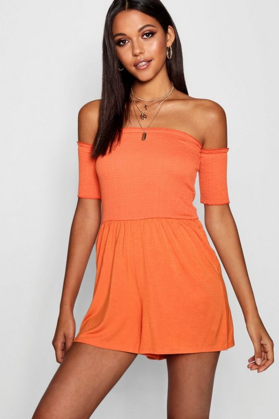 Womens Orange Tall Shirred Playsuit