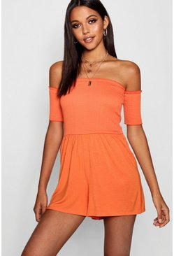 Womens Orange Tall Shirred Romper