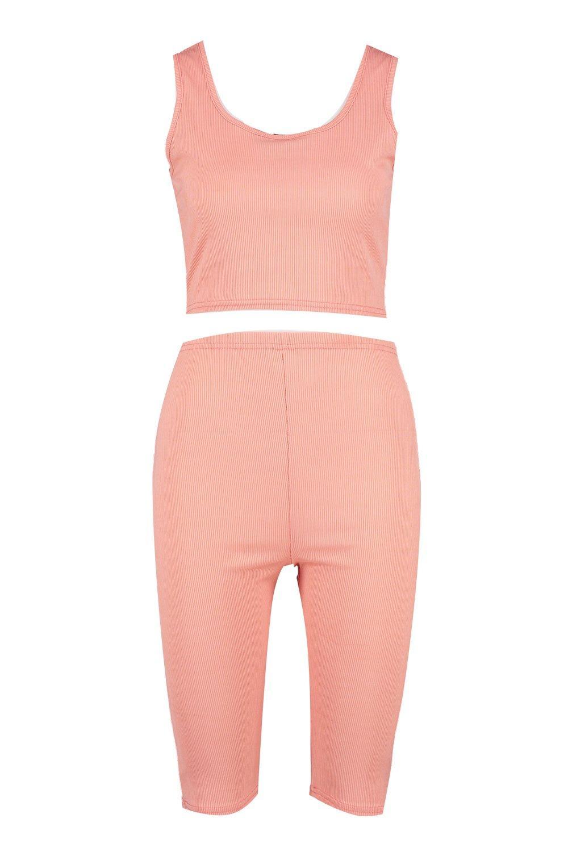 top canalé Conjunto corto Tall de coral y ciclista en cortos pantalones de 5wT4xTI7