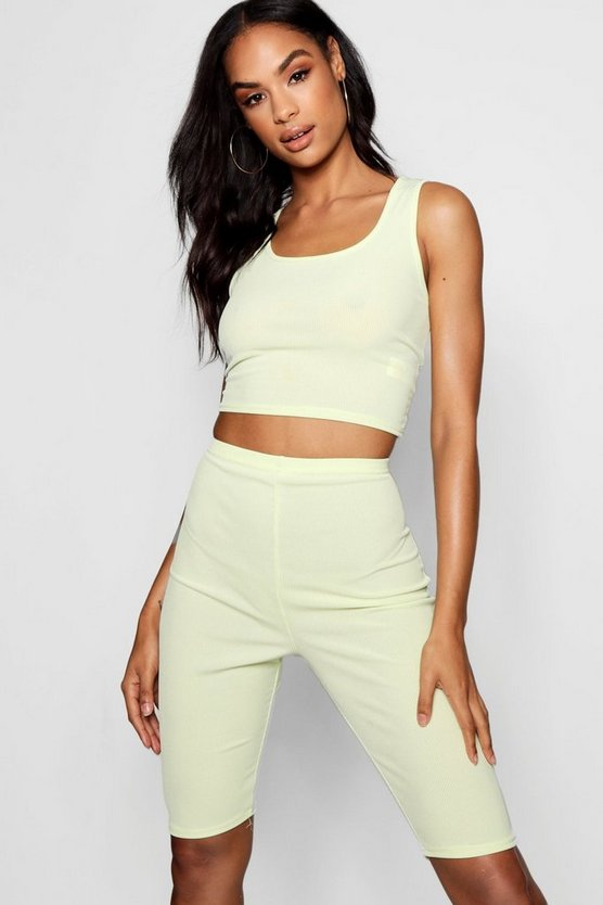 Tall Rib Crop Top + Cycling Shorts Co-ord