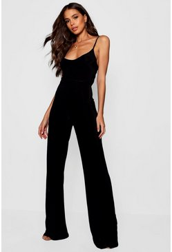 Womens Black Tall Bella Plunge Wide Leg Jumpsuit