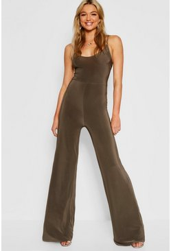 Womens Khaki Tall Bella Plunge Wide Leg Jumpsuit
