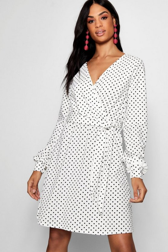Womens White Tall Polka Dot Wrap Dress