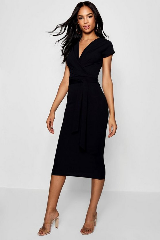 Black Tall Sleeveless Wrap Bodycon Dress