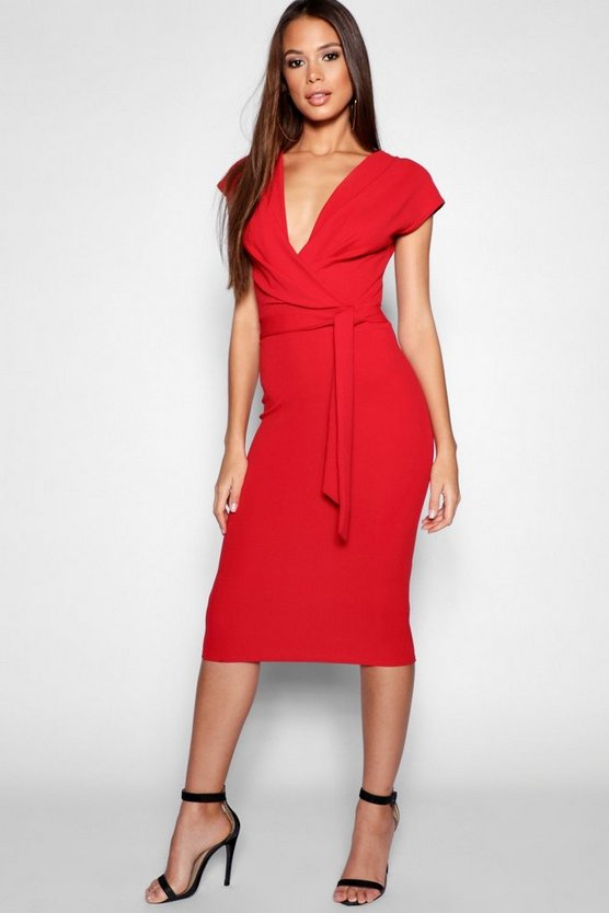 Womens Red Tall Sleeveless Wrap Bodycon Dress