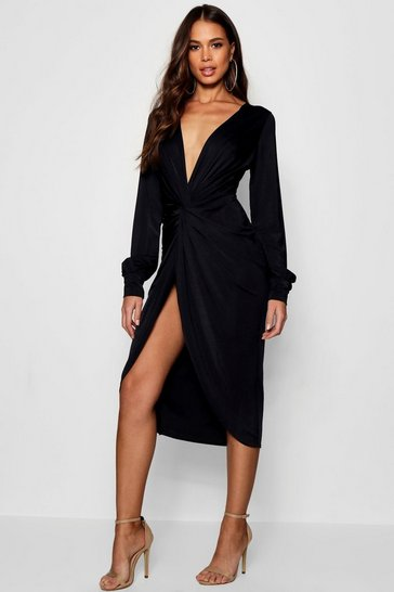 Womens Black Tall Olivia Wrap Front Slinky Midi Dress