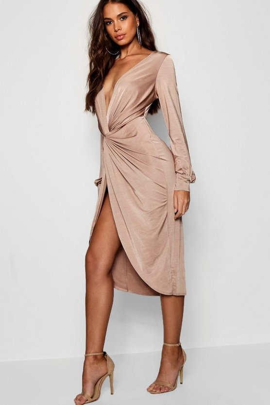 Womens Stone Tall Olivia Wrap Front Slinky Midi Dress