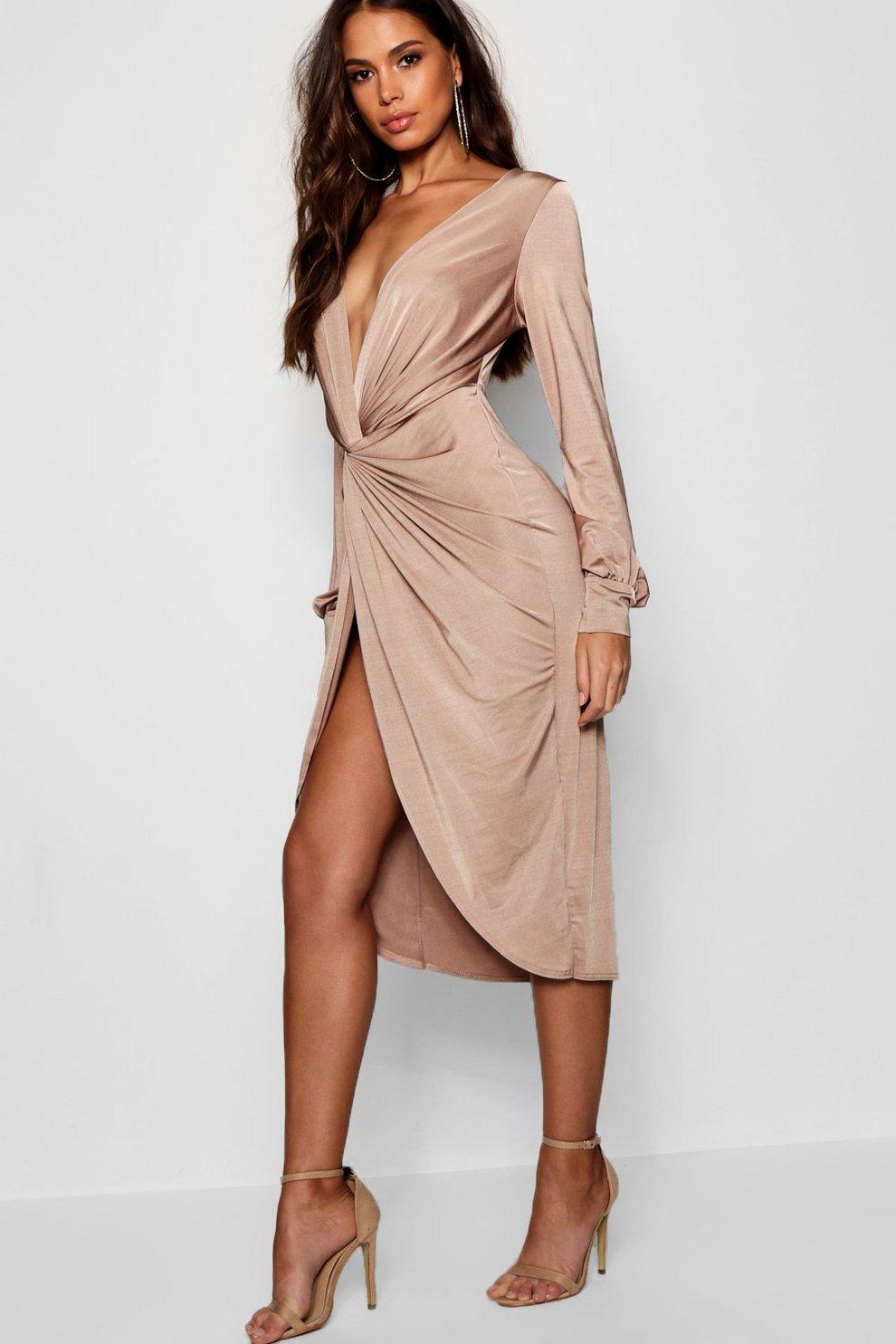 5747bba969e59 Tall Olivia Wrap Front Slinky Midi Dress | Boohoo