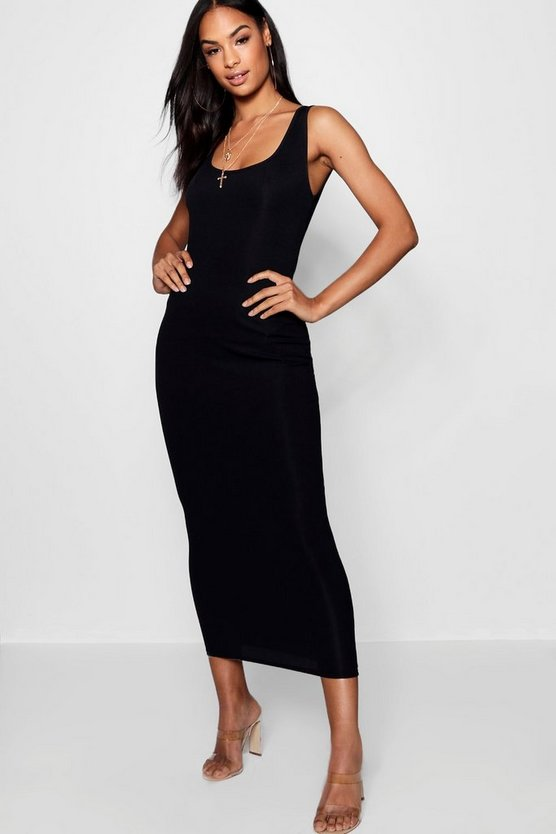 Womens Black Tall Rib Sleeveless Midi Dress