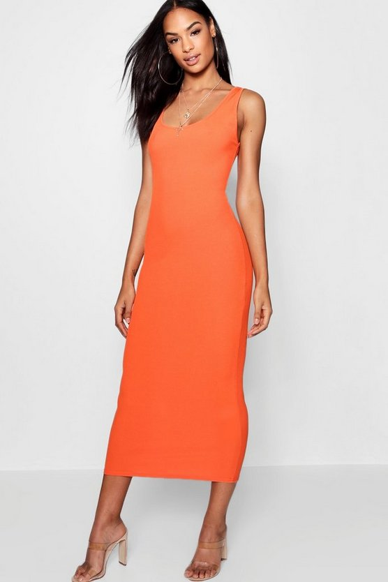 Womens Orange Tall Rib Sleeveless Midi Dress