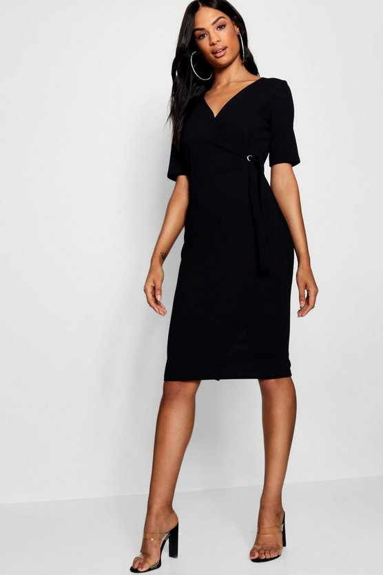 Womens Tall Tie Side Wrap Midi Dress