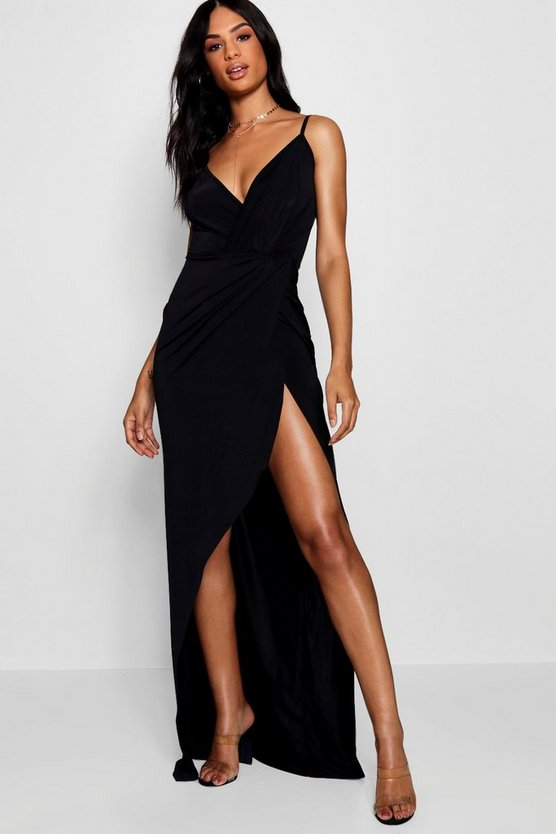 Womens Black Tall Drape Wrap Maxi Dress