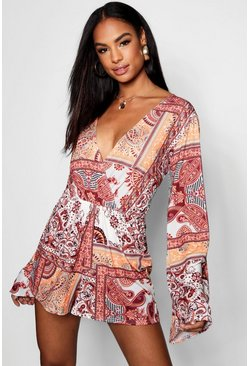 Tall Jen Paisley Print Wrap Playsuit, Orange, Donna
