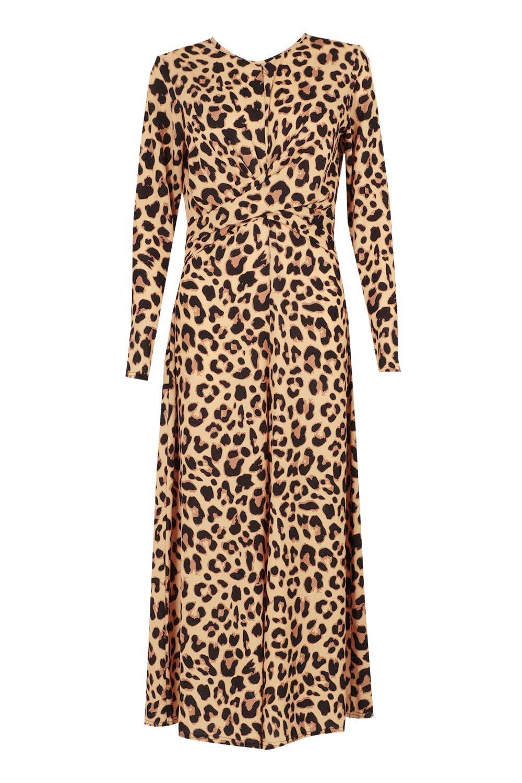 Sarah leopard Tall Leopard Front Knot Print Jumpsuit zdq8dO