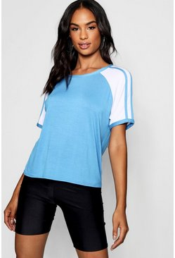 Womens Blue Tall Eliza Stripe Sleeve Detail T-Shirt