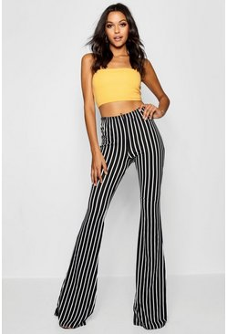 Womens Black Tall Pinstripe Flares