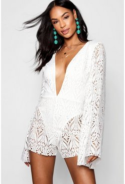 Womens White Tall Lace Plunge Flared Sleeve Romper