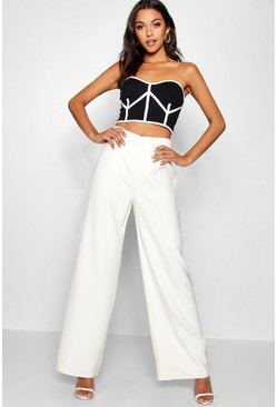 Womens White Tall High Waisted Woven Wide Leg Trousers
