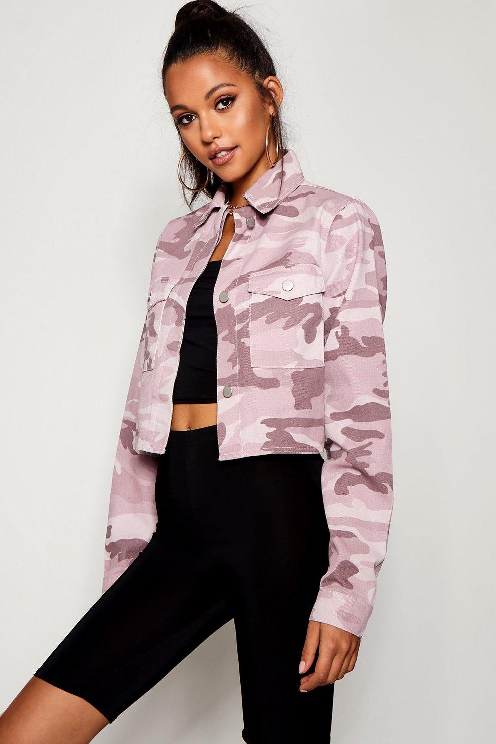 8d8af1dc66891 Tall Pink Camo Crop Denim Jacket | Boohoo