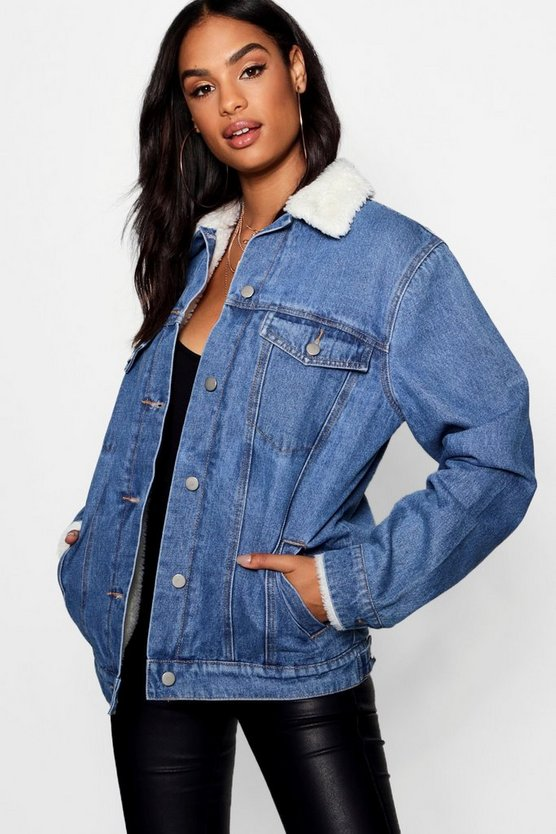 Womens Mid blue Tall Borg Lined Denim Jacket