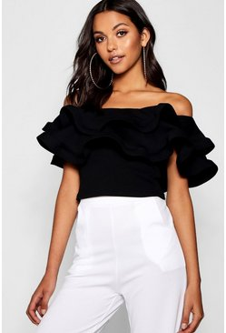 Womens Black Tall Ruffle Bandeau